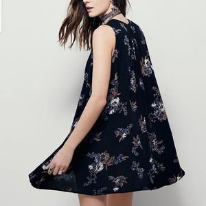 Free People Black Faded Floral Sleeveless Tunic